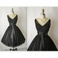 50's Cocktail Dress // Vintage 1950's Black by TheVintageStudio