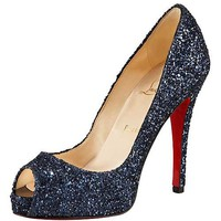 Christian Louboutin Glittered Platform Pump Marine - &amp;#36;179