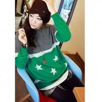 New Arrived Round Neckline Colormatching Stars Patterns Long Sleeves Sweater For Women China Wholesale - Sammydress.com