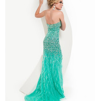 Jasz Couture 2013 Prom -Strapless Aqua Feather Gown With Rhinestones - Unique Vintage - Cocktail, Pinup, Holiday &amp; Prom Dresses.