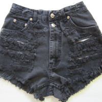 sale --- Vintage Faded Black High Waisted DESTROYED trashed Denim Cut Off punk grunge jean Shorts