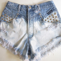 Vintage Rockie High Waisted OMBRE Destroyed TRASHED Denim STUDDED Cut Off jean Shorts