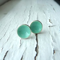 Supermarket: sea foam dot earrings from k.o'brien jewelry