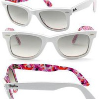 Rayban Wayfarer White Pink RB2140 1022 32 Brand New Sunglasses