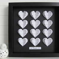 Personalised Text Heart Frame - 3D Hearts - Wedding Valentine Anniversary Gift - Song Lyric Wall Art