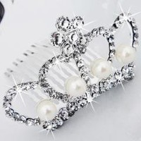 Silver Plated Wedding Pearl Crystal Crown
