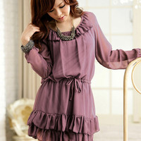 Ruffle Collar Korean Fashion Chiffon Dress : Yoco-fashion.com