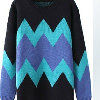 Hit color diamond-shaped geometric round neck hedging loose sweater FS20