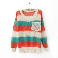 Color Stripe Large Pocket Loose sweater