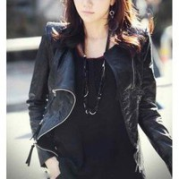 New Zipper Pattern Style PU Leather Coat For Two Way Wear China Wholesale - Sammydress.com