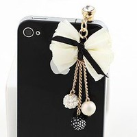 Amazon.com: Earphone Jack Plated Gold Beige Bow Colored Small Beads / Cell Charms / Dust Plug / Ear Jack For Iphone 4 4S / iPad / iPod Touch / Other 3.5mm Ear Jack: Cell Phones & Accessories