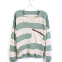 Green White Striped Pocket Bat Long Sleeve Sweater from Showmall