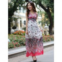 Corean Bohemian Style Grace and Unique Style Colorful Decorated V-necks Chiffon Dress China Wholesale - Sammydress.com