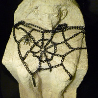 SPIDERWEB  COBWEB NECKLACE, gothic, batcave, deathrock, psychobilly / Free Shipping Worldwide