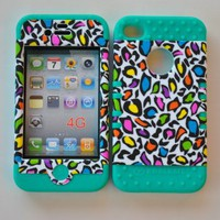 My Associates Store - Colorful Leopard on Teal Silicone Iphone 4 4g 4s 2 in 1 Rubber Cover Case
