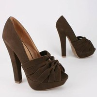 gathered design peep toe platform $26.20 in BROWN - New Shoes | GoJane.com