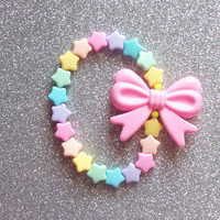 Pastel Rainbow Stretch Bracelet - Hearts or Stars with Pink Bow
