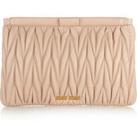 Miu Miu|Mattelass? leather clutch|NET-A-PORTER.COM