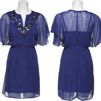 15DOLLARSTORE.COM - $15.00 TRIXXI Chiffon Kabuki Dress W/ Sequin & Bead Neckline (Royal)