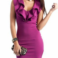 ruffle collar dress &amp;#36;34.00 in BERRY BLACK PEACOCK - Dressy | GoJane.com