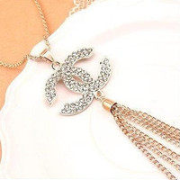 Chanel Silver Gold Diamonte Long Necklace
