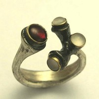 Sterling silver and yellow gold ring with Garnet by artisanimpact