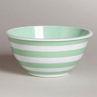 Mint and White Striped Mixing Bowl