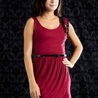 belted asymmetrical sequin trim dress $25.90 in BURG - Nightclub | GoJane.com