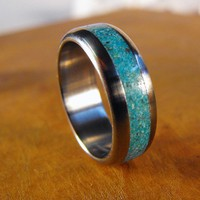 Etsy Transaction - Titanium Wedding Ring with Turquoise Inlay Ring (wider inlay)