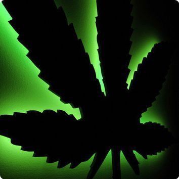 Hemp Leaf Wall Light Pot 420 Rasta Cannabis Ganja by LuxChroma