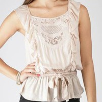 embroidered design ruffle top $26.50 in NUDE WHITE - Short Sleeve | GoJane.com
