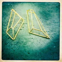 Architectural Structure Geometric Long Gold Earrings