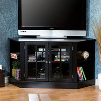 Crescent Black Corner Media Stand | Overstock.com