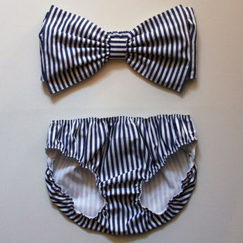 Navy and white striped bow bandeau set made to order by amourouse
