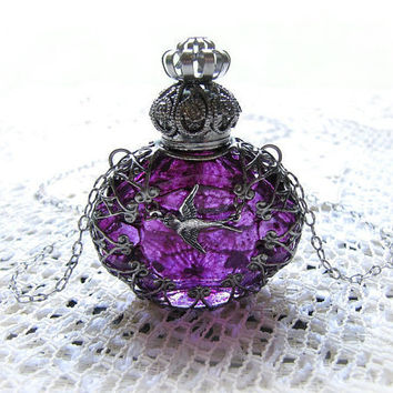 Glass Perfume Bottle Necklace Purple Filigree by CuteAbility