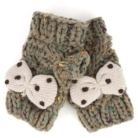 FG00002 Dark Gray Cute Knit Bow Mittens and Womens Fashion Clothing & Shoes and Shop Accessories at MakeMeChic.com