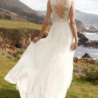 Soft Chiffon Sheath Tank with Illusion Lace Back - David&#x27;s Bridal- mobile