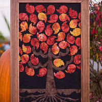 Batik Tree of Life Family Tree Framed Wall Quilt by BeccasTrees