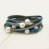 Blue Silver Pearl &amp; Sterling Leather Wrap Bracelet / Fresh Water Pearl w/ Eco Friendly Leather / boho gladiator ocean wedding star inspired