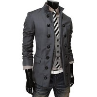 TheLees Mens Double Breasted 2 Way China Collar Fitted Jacket
