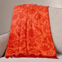 Orange/Red Damask Throw