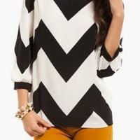 Black & White Chevron Dolman Blouse