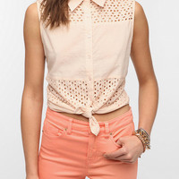 Urban Outfitters - Olive and Oak Eyelet Stripe Sleeveless Shirt