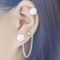 White Mini Blooming Rose Cartilage Earring Pair by oflovelythings