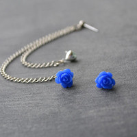 Dark Blue Flower Bud and Heart Multiple Pierce by oflovelythings