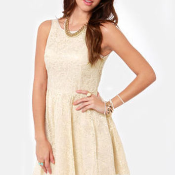 BB Dakota by Jack Azura Beige Lace Dress