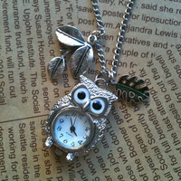 Owl Steampunk Pocket Watch necklace in silver by Victorianstudio