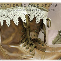 The Ultimate lace socks for your  combat, clogs or cowboy boots BROWN by Catherine Cole Studio slouch  socks MADE IN U S A (SLX2C2L)