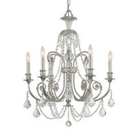 Regis Olde Silver Six Light Chandelier With Hand Polished Crystal Crystorama Lighting Grou