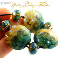 handmade glass lampwork beads Golden Botanica Tortoise Lentils by Radiantmind